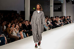 © Licensed to London News Pictures. 05/06/2016. London, UK. A model presents a look by Kayleigh Dozzell, from the University of East London. Graduate Fashion Week opens at the Old Truman Brewery in East London showcasing the work of over 1,000 of the very best graduates from over 40 universities around the world.  30,000 guests are expected to attend the annual event which features 22 catwalk shows and more. Photo credit : Stephen Chung/LNP