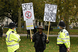 © Licensed to London News Pictures. 17/10/2020. London, UK. Protestors calling for an end to Coronavirus lockdown restrictions gather in Hyde Park, central London. Other groups who believe that the virus is a hoax and a conspiracy have also joined today's demonstration called the ' March for Freedom'. Photo credit: Peter Macdiarmid/LNP