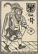 'Letter carrier bearing the Prussian eagle as his badge of office, 15th century, woodcut.'