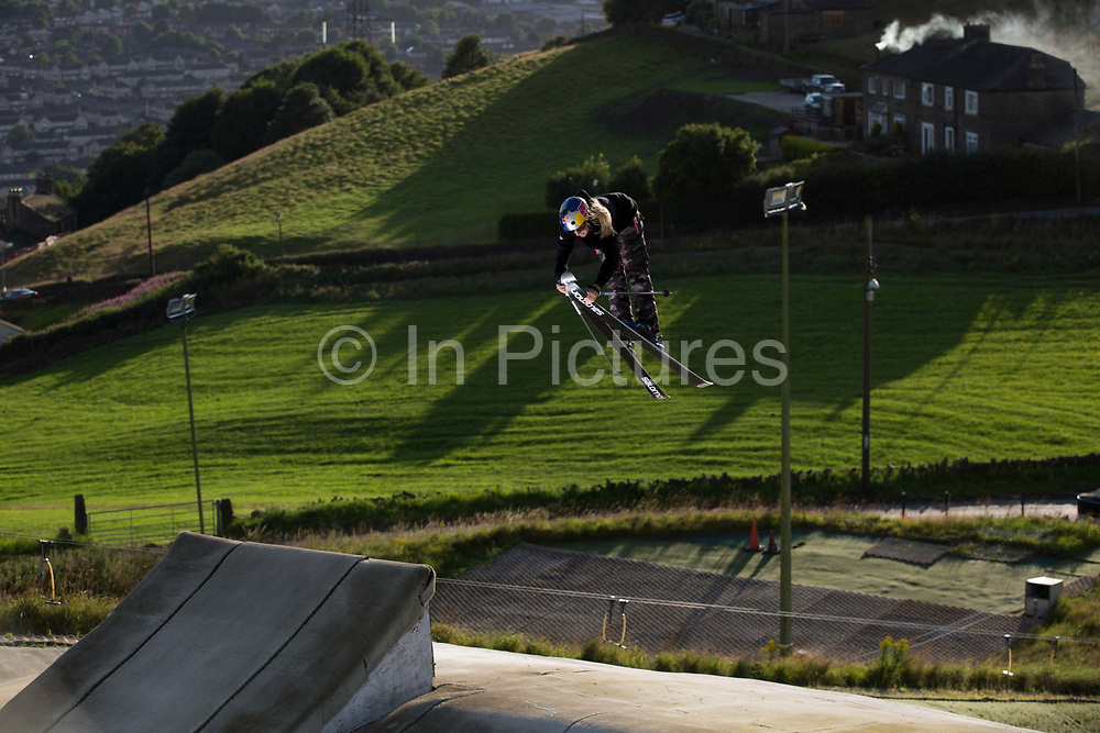 British freestyle skier Katie Summerhayes skiing the jump at Halifax Ski Centre on 20th July 2017 in Halifax, United Kingdom. Halifax Ski Centre is the spiritual home to many in the UK homegrown ski and snowboard community.