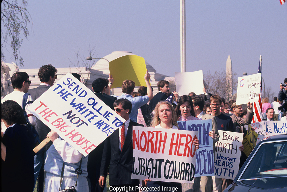 Proesters after the Oliver  North trial  at the US District Court in July 1989<br /> Photo by Dennis Brack