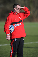 Wales coach Rob Howley looks on. Wales rugby team training at the Vale Resort, Hensol near Cardiff on Tuesday 5th March 2013.  pic by  Andrew Orchard, Andrew Orchard sports photography,