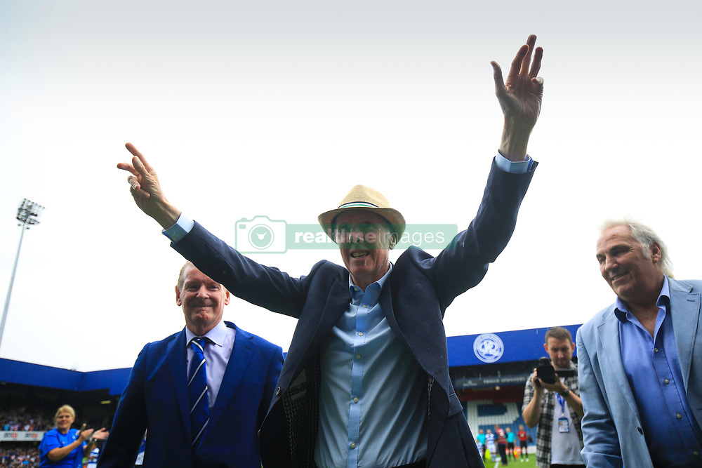 29 July 2017 -  Pre-Season Friendly - QPR v Bournemouth - Stan Bowles salutes the fans flanked by fellow former players Don Shanks (L) and Gerry Francis (R) - Photo: Marc Atkins / Offside.