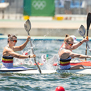 TOKYO, JAPAN August 3:  Hermien Peters and Lize Broekx of Belgium winning the B final in the Women's Kayak Double 500m race at the Sea Forest Waterwayduring the Tokyo 2020 Summer Olympic Games on August 3rd, 2021 in Tokyo, Japan. (Photo by Tim Clayton/Corbis via Getty Images)