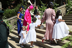 The bridal party arrive at St George's Chapel at Windsor Castle for the wedding of Prince Harry to Meghan Markle.