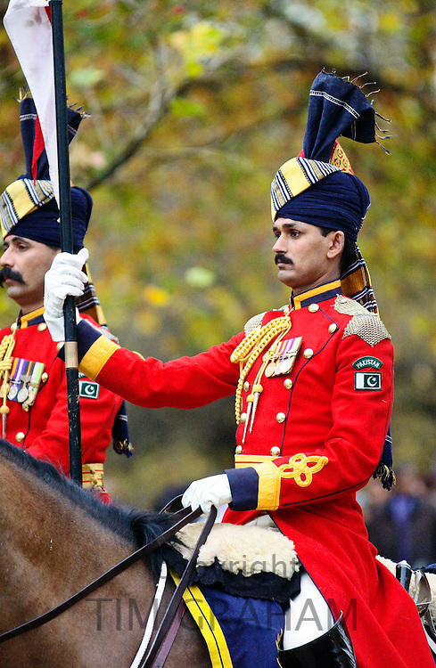 A mounted escort from India and Pakistan at the memorial dedicated to nearly five million volunteers from the Indian subcontinent,  Africa and the Caribbean who served with the British Armed Forces in two World Wars.  In recognition of their contribution a Memorial Gate has been erected on Constitution Hill, near Hyde Park Corner.
