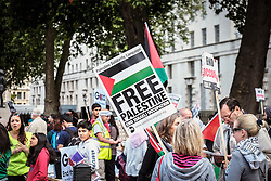 Pro-Palestinian protesters demonstrate outside Downing street against arms sales to Israel. London UK 23 August 2014