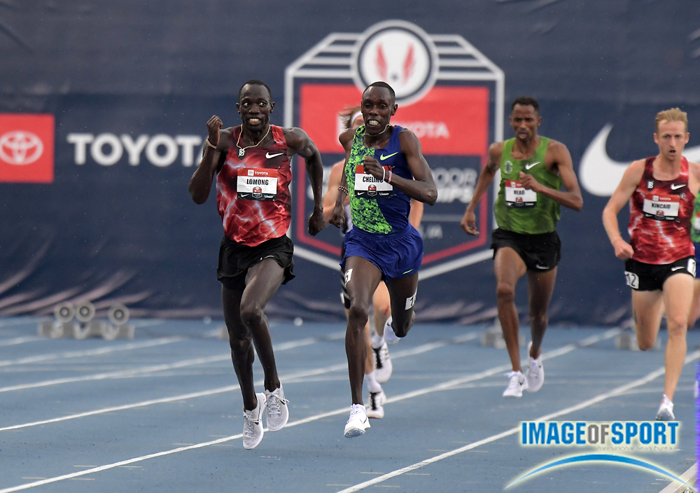 Jul 28, 2019; Des Moines, IA, USA; Lopez Lomong defeats Paul Chelimo to win the 5,000m, 13:25.53 to 13;25.80, during the USATF Championships at Drake Stadium.