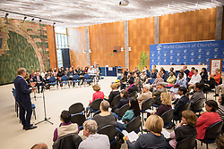20 September 2017, Geneva, Switzerland: World Council of Churches staff gather for the annual Staff Enrichment Days. Here, Olav Fykse Tveit speaking to WCC staff.