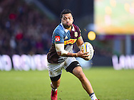 Harlequins player Alofa Alofa looks for space in the first half during the Aviva Premiership match between Harlequins and Sale Sharks at Twickenham Stoop, Twickenham, United Kingdom on 7 January 2017. Photo by Ian  Muir.during the Aviva Premiership match between Harlequins and Sale Sharks at Twickenham Stoop, Twickenham, United Kingdom on 7 January 2017. Photo by Ian  Muir.