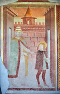 Religious murals depicting the Life of St Antonio Abate by Dionisio Baschenis ( circa 1493) on the exterior of the Gothic Church of San Antonio Abate,  Pelugo, Province of Trento, Italy .<br /> <br /> Visit our ITALY PHOTO COLLECTION for more   photos of Italy to download or buy as prints https://funkystock.photoshelter.com/gallery-collection/2b-Pictures-Images-of-Italy-Photos-of-Italian-Historic-Landmark-Sites/C0000qxA2zGFjd_k<br /> If you prefer to buy from our ALAMY PHOTO LIBRARY  Collection visit : https://www.alamy.com/portfolio/paul-williams-funkystock/san-antonio-abate-pelugo.html