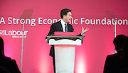 © Licensed to London News Pictures. 11/12/2014. London, UK. ED Miliband used auto cues for the speech.  Ed Miliband, Leader of the Labour Party gives a speech about his plans for the economy at the Institute of Charted Accountants. Photo credit : Stephen Simpson/LNP