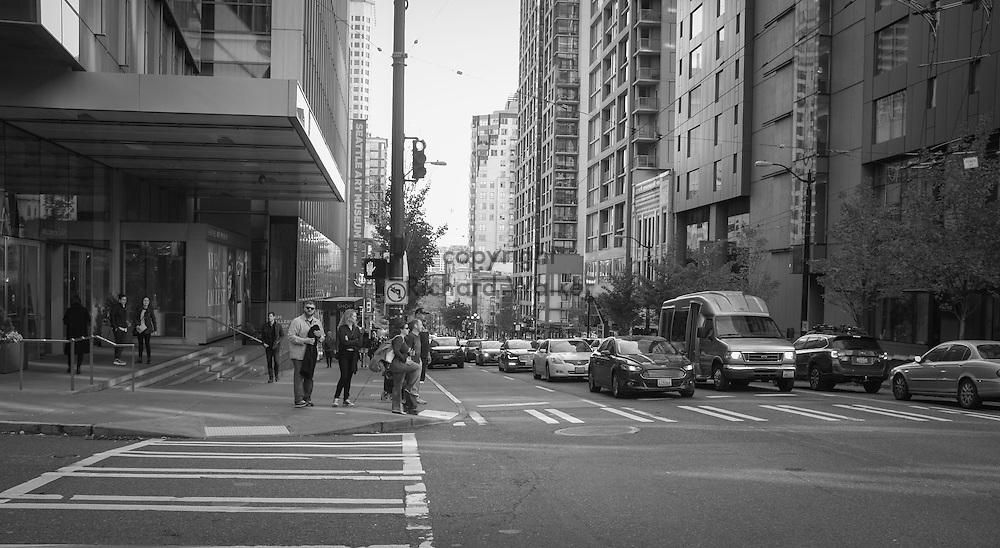 2016 October 22 - Street scene along First Avenue looking South at Union Street, Seattle, WA, USA. By Richard Walker