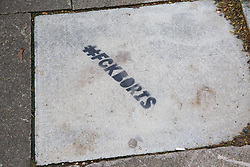 Uxbridge, UK. 16 November, 2019. A stencil seen on the pavement in Prime Minister Boris Johnson's constituency during the general election campaign period.