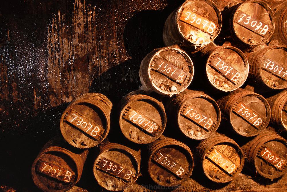 Oak barrels of wine in R. Lopez Heredia winery, in Haro, La Rioja, Spain.