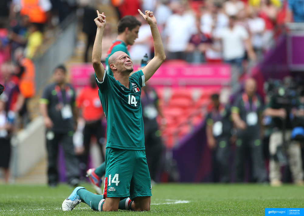 Jorge Enriquez, Mexico, celebrates how sides Gold Medal win after defeating Brazil 2-1 during the Brazil V Mexico Gold Medal Men's Football match at Wembley Stadium during the London 2012 Olympic games. London, UK. 11th August 2012. Photo Tim Clayton