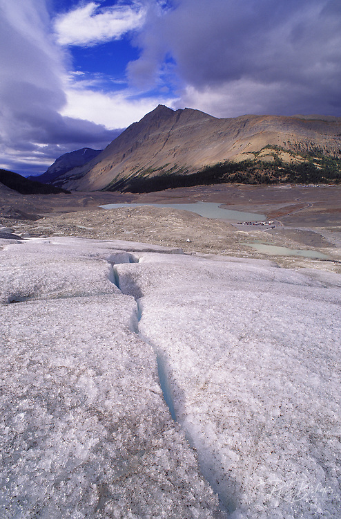 Crevasse in the toe of the Athabasca Glacier, Columbia Icefields area, Jasper National Park, Alberta, Canada