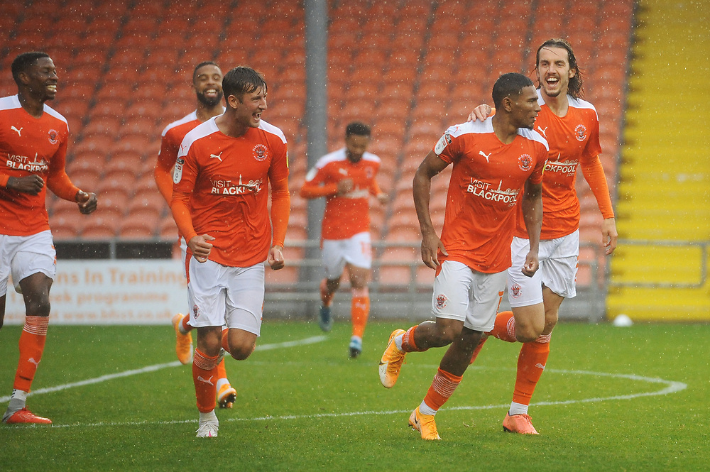 Blackpool's Demi Mitchell celebrates scoring his side's second goal with team-mate Jordan Williams<br /> <br /> Photographer Kevin Barnes/CameraSport<br /> <br /> The EFL Sky Bet League One - Blackpool v Lincoln City - Saturday 3rd October 2020 - Bloomfield Road - Blackpool<br /> <br /> World Copyright © 2020 CameraSport. All rights reserved. 43 Linden Ave. Countesthorpe. Leicester. England. LE8 5PG - Tel: +44 (0) 116 277 4147 - admin@camerasport.com - www.camerasport.com