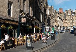 View of historic Cockburn Street in Old Town of Edinburgh, Scotland, UK