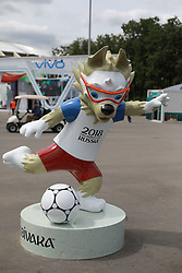 June 14, 2018 - Moscou, Rússia - MOSCOU, MO - 14.06.2018: GENERAL PICTURES MOSCOW 2018 - Statue of the Russian 2018 World Cup mascot, the Zabivaka Wolf at the entrance to the Luhzinik Stadium. (Credit Image: © Ricardo Moreira/Fotoarena via ZUMA Press)