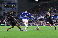 Kevin Mirallas of Everton shoots and scores his teams 2nd goal. Premier league match, Everton v Manchester City at Goodison Park in Liverpool, Merseyside on Sunday 15th January 2017.<br /> pic by Chris Stading, Andrew Orchard sports photography.