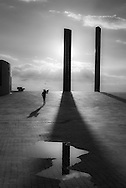 Portugal. Lisbon. Champalimaud Fondation for the unknown in Belem. by the indian architect Charles Correa . welcome in gattaca atmosphere, or 2001 space odyssey.