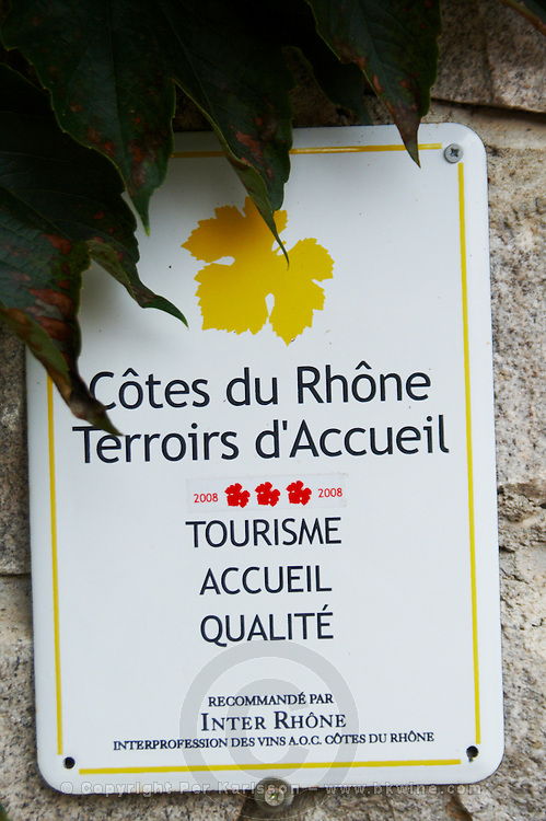 wine region sign cotes du rhone tourism domaine p gaillard rhone france