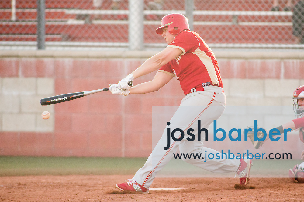 Orange Lutheran's Zach Busalacchi (34) batting during a Trinity League game at Mater Dei High School on Friday, May 1, 2015 in Santa Ana, Calif. (Photo/Josh Barber)