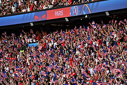 June 28, 2019 - Paris, ile de france, France - Joy of the USA Football Women's football supporters  for the first goal at the quarter-final between FRANCE vs USA in the 2019 women's football World cup at Parc des Princes in Paris, on the 28 June 2019. (Credit Image: © Julien Mattia/NurPhoto via ZUMA Press)