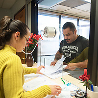 Levi Franklin Saucedo visits Deputy City Clerk Alicia Palacios Tuesday afternoon to file paperwork to run for city councilor in the municipal officer elections in March.