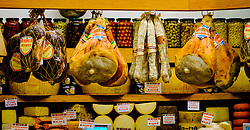 Hams and cheeses in a shop in Bologna Italy<br /> <br /> (c) Andrew Wilson | Edinburgh Elite media