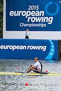 Poznan, POLAND. NOR M1X, Olaf TUFTA sitting on the start, 2015 FISA European Rowing Championships. Venue, Lake Malta. Friday 29.05.2015. [Mandatory Credit: Peter Spurrier/Intersport Images] .   Empacher.