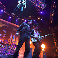 MINNEAPOLIS, MN - AUGUST 17: Lead singer M. Shadows and Guitarist Zacky Vengence of Avenged Sevenfold, performs at the start of the tour for the 2010 Rockstar Energy Drink Uproar Festival at Target Center on August 17, 2010 in Minneapolis, Minnesota.  (Photo by Adam Bettcher/Getty Images) *** Local Caption *** Zacky Vengence