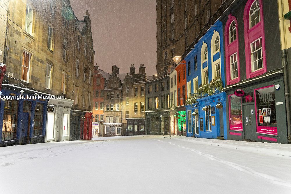 Edinburgh, Scotland, UK. 10 Feb 2021. Big freeze continues in the UK with heavy overnight and morning snow in the city. Pic;  Victoria Street empty in the early morning snow. Iain Masterton/Alamy Live news