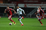 England's Jesse Lingard looks to go past Lee Lucas of Wales. UEFA 2015 European U21 championship, group one qualifier , Wales u21 v England u21 at the Liberty Stadium in Swansea, South Wales on Monday 19th May 2014. <br /> pic by Andrew Orchard, Andrew Orchard sports photography.