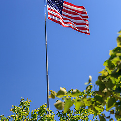 Harrisburg, PA, USA - June 2, 2011: The USA Flag waving during a breezy, sunny day.