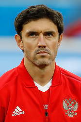 June 19, 2018 - Saint Petersburg, Russia - Yury Zhirkov of Russia national team during the 2018 FIFA World Cup Russia group A match between Russia and Egypt on June 19, 2018 at Saint Petersburg Stadium in Saint Petersburg, Russia. (Credit Image: © Mike Kireev/NurPhoto via ZUMA Press)