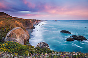 Stormy summer sunset at Wright's Beach, Sonoma Coast State Park, near Jenner, California