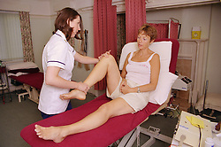 Physiotherapist carrying out assessment on patient's knee joint,