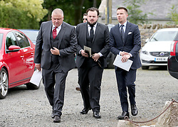 Actors (left to right) Conleth Hill, John Bradley and Joe Dempsie arrive at Rayne Church, Kirkton of Rayne in Aberdeenshire, for the wedding ceremony of Game Of Thrones stars Kit Harington and Rose Leslie.