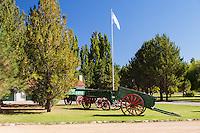 ESTANCIA LELEQUE, ANTIGUOS CARRAJUES Y BANDERA, PROVINCIA DEL CHUBUT, ARGENTINA (PHOTO © MARCO GUOLI - ALL RIGHTS RESERVED)