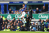 Enner Valencia of Everton and Victor Moses of Chelsea jump for the ball. Premier league match, Everton v Chelsea at Goodison Park in Liverpool, Merseyside on Sunday 30th April 2017.<br /> pic by Chris Stading, Andrew Orchard sports photography.