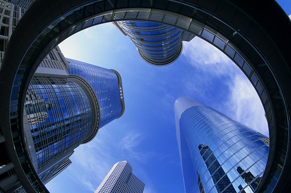 Stock photo of the Enron buildings downtown.
