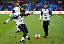 """Burnley's Georges-Kevin N'Koudou warms up prior to kick off during the Premier League match at Selhurst Park, London. PRESS ASSOCIATION Photo. Picture date: Saturday January 13, 2018. See PA story SOCCER Palace. Photo credit should read: Daniel Hambury/PA Wire. RESTRICTIONS: EDITORIAL USE ONLY No use with unauthorised audio, video, data, fixture lists, club/league logos or """"live"""" services. Online in-match use limited to 75 images, no video emulation. No use in betting, games or single club/league/player publications"""