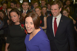 SCOTTISH PARLIAMENTARY ELECTION 2016 – Kezia Dugdale Scottish Labour Party with her partner Louise Riddell and Daniel Johnson, Scottish Labour Party, at the Royal Highland Centre, Edinburgh for counting of votes and declaration of results<br /><br />(c) Brian Anderson | Edinburgh Elite media