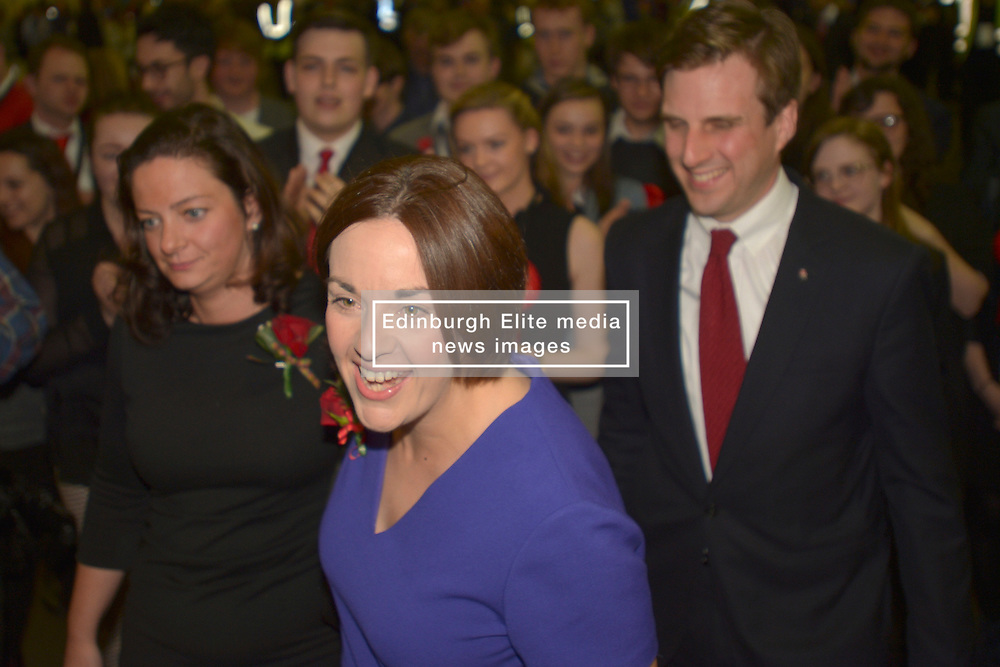 SCOTTISH PARLIAMENTARY ELECTION 2016 – Kezia Dugdale Scottish Labour Party with her partner Louise Riddell and Daniel Johnson, Scottish Labour Party, at the Royal Highland Centre, Edinburgh for counting of votes and declaration of results<br /><br />(c) Brian Anderson   Edinburgh Elite media