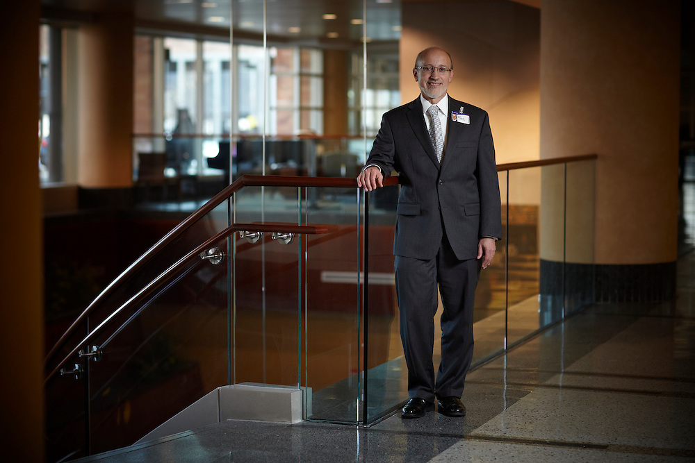 Park Nicollet Health Systems CEO Dr. Abelson poses for a portrait in the lobby of Methodist Hospital in St. Louis Park, Minnesota.