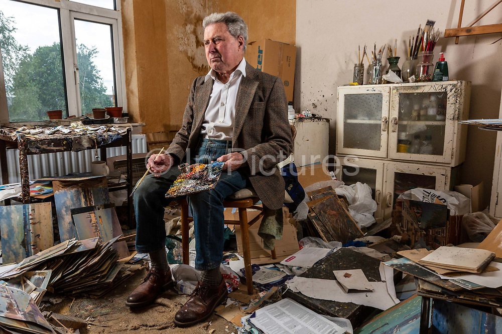 Ronald Morgan, Sen. RBA, Sen. ROI, a contemporary British painter in his studio, London, United Kingdom. Morgan was born on the 28th February 1936 in Landywood, Staffordshire. He studied at Walsall School of Art 1951-1953 . He is a painter in watercolour, black and white, oil and pastel. He is a draughtsman, illustrator, linguist and a teacher. Member of The Chelsea Art Society, The Royal Society of British Artists and The Royal Institute of Oil Painters. In 1974 he won first prize at The Lord Mayor of London's Art Award Exhibition. He was awarded the Le Clerc Fowle gold medal at the ROI 2009 exhibition.