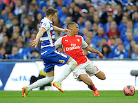 Arsenal's Kieran Gibbs whips the ball into the box <br /> <br /> Photographer Ian Cook/CameraSport<br /> <br /> Football - The FA Cup Semi-Final - Reading v Arsenal - Saturday 18th April 2015 - Wembley - London<br /> <br /> © CameraSport - 43 Linden Ave. Countesthorpe. Leicester. England. LE8 5PG - Tel: +44 (0) 116 277 4147 - admin@camerasport.com - www.camerasport.com