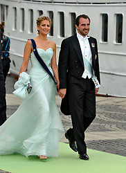 Prince Nikolaos and Princess Tatiana of Greece attend the wedding of Princess Madeleine of Sweden and Christopher O'Neill hosted by King Carl Gustaf XIV and Queen Silvia at The Royal Palace in Stockholm, Sweden, June 8, 2013 . Photo by Schneider-Press / i-Images. .UK & USA ONLY